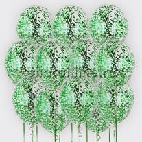 Облако шариков с квадратным зеленым конфетти