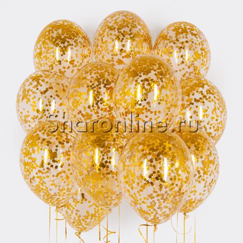 Фото №1: Облако шариков с золотым конфетти