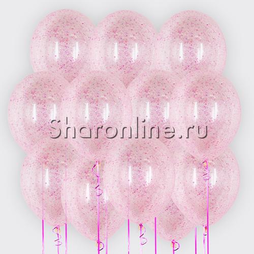 Фото №1: Облако шариков с малиновым голографическим конфетти