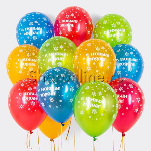 """Фото №1: Облако шариков """"С Новым годом!"""" металлик"""