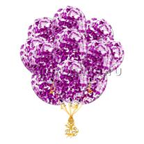 Облако шариков с прямоугольным конфетти цвета фуксия