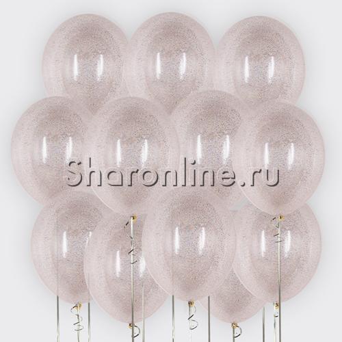 Фото №2: Облако шариков с серебряным конфетти в виде полосок