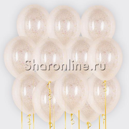Фото №1: Облако шариков с желтым голографическим конфетти в виде хлопьев