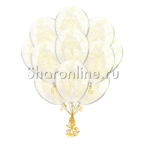 Фото №1: Облако шариков с золотым конфетти в виде полосок