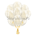 Фото №1: Облако шариков с золотым конфетти в виде хлопьев