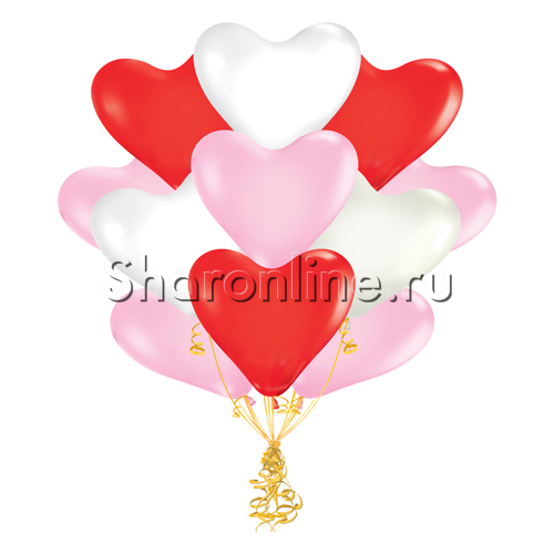 Фото №2: Облако шариков сердечек Ассорти 30 см