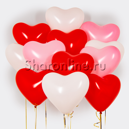 Фото №1: Облако шариков сердечек Ассорти 30 см