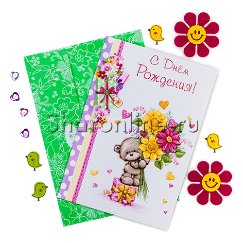 """Фото №1: Открытка """"С Днем рождения!"""" Мишка с цветами 218x150 мм"""