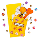 "Фото №1: Открытка ""С Днем рождения!"" пчелка с сердечком 195x85 мм"