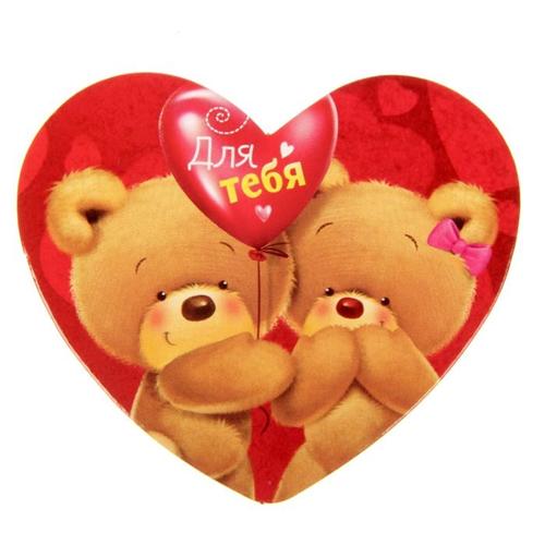 """Фото №1: Открытка-валентинка """"Влюблённые мишки"""" 7х6 см"""