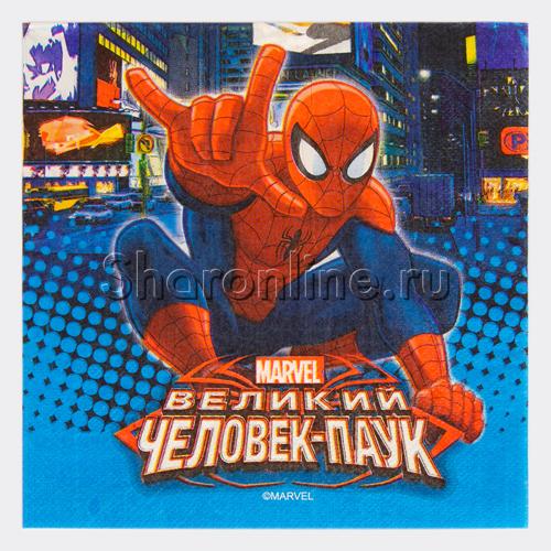 """Фото №1: Салфетки """"Человек-Паук"""" 12 шт"""
