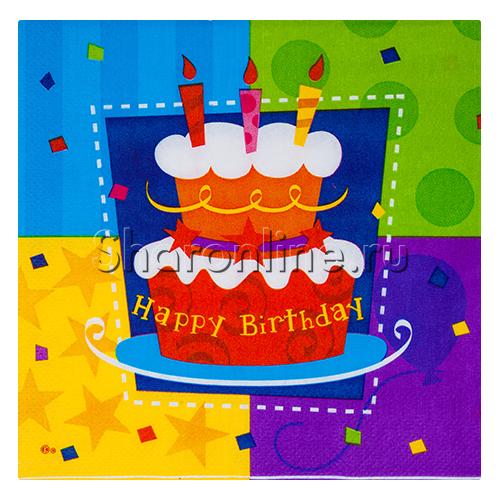 """Фото №1: Салфетки """"Happy Birthday"""" торт 12 шт"""