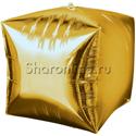 Фото №1: Шар 3D Куб Золотой 38 см
