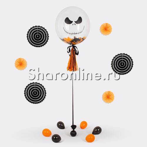 """Фото №3: Шар Bubble """"Джек Скеллингтон""""с кисточкой тассел и перьями"""