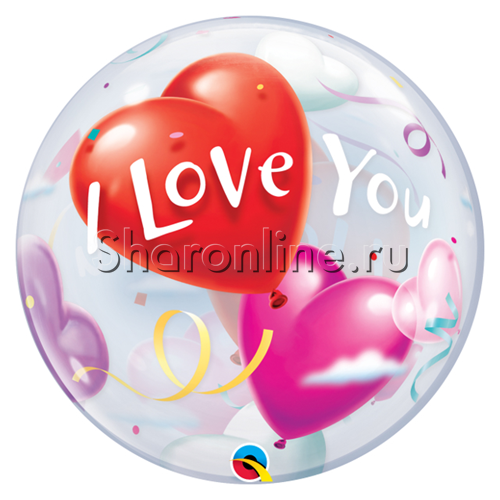 "Фото №1: Шар Bubble ""I love you"" 55 см"
