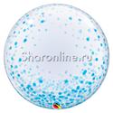 "Фото №1: Шар Bubble ""Конфетти голубое"" 60 см"