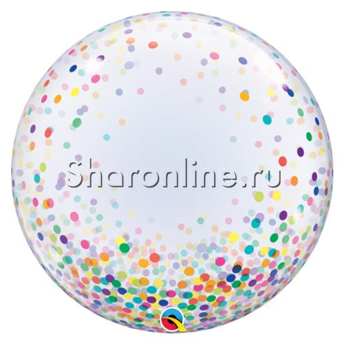 """Фото №1: Шар Bubble """"Конфетти разноцветное"""" 60 см"""
