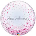 """Фото №1: Шар Bubble """"Конфетти розовое"""" 60 см"""