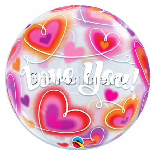 """Фото №1: Шар Bubble """"Красные сердечки"""" 55 см"""