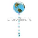 """Фото №1: Шар Bubble Планета Земля с подвеской """"Голубой микс"""""""