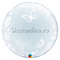 "Фото №1: Шар Bubble ""Розы и бабочки"" 60 см"