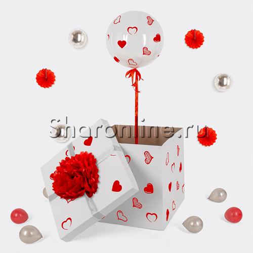 Фото №1: Шар Bubble с белыми перьями и наклейками в коробке
