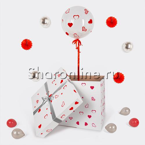 Фото №2: Шар Bubble с белыми перьями и наклейками в коробке
