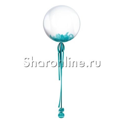 Фото №1: Шар  Bubble с бирюзовой лентой и перьями