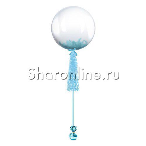 Фото №1: Шар Bubble с голубой кисточкой и перьями