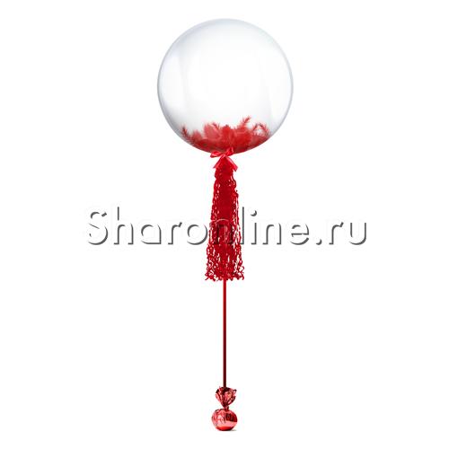 Фото №1: Шар Bubble с красной кисточкой и перьями