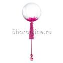 Фото №1: Шар Bubble с малиновой кисточкой и перьями
