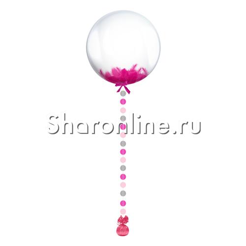 Фото №1: Шар Bubble с малиновой подвеской и перьями