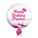 "Фото №1: Шар Bubble с перьями и надписью ""Happy Birthday Princess"""