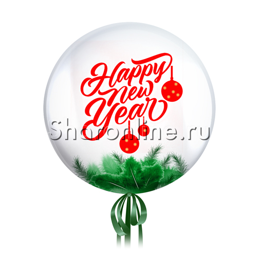 "Фото №1: Шар Bubble с перьями и надписью ""Happy New Year"""