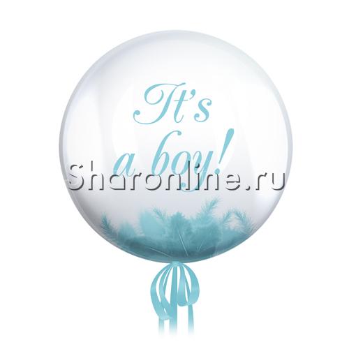 "Фото №2: Шар Bubble с перьями и надписью ""It""s a boy !"""