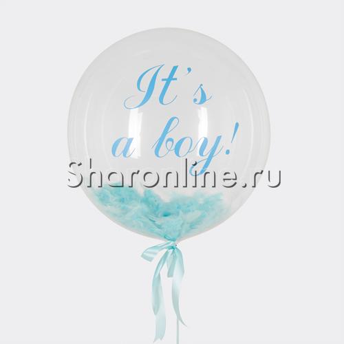 "Фото №1: Шар Bubble с перьями и надписью ""It""s a boy !"""