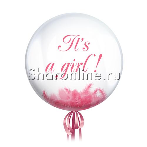 "Фото №1: Шар Bubble с перьями и надписью ""It""s a girl !"""