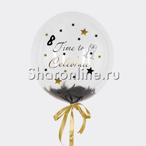 "Фото №1: Шар Bubble с перьями и надписью ""Time to Celebrate"""
