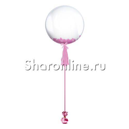 Фото №1: Шар Bubble с розовым конфетти