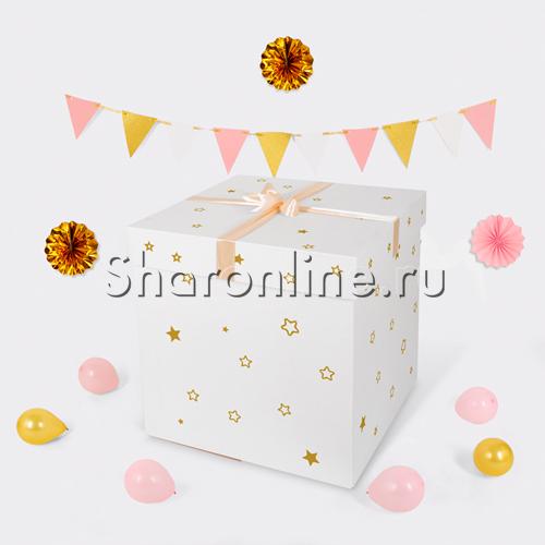 Фото №3: Шар Bubble с розовыми перьями и наклейками в коробке