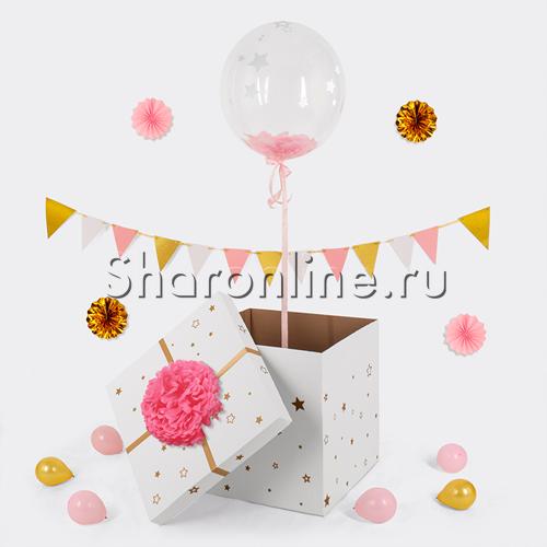 Фото №1: Шар Bubble с розовыми перьями и наклейками в коробке