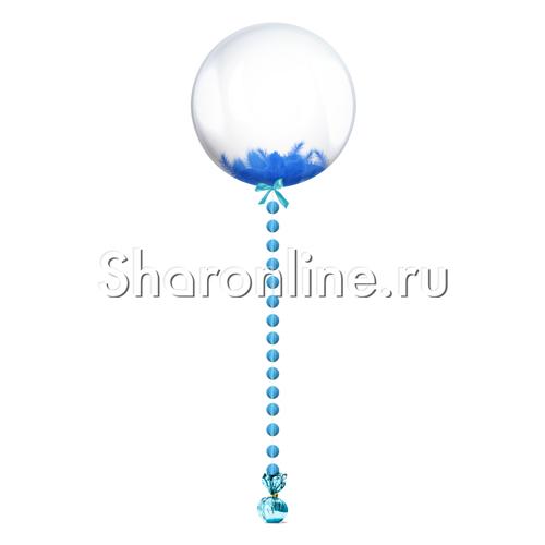 Фото №1: Шар Bubble с синей подвеской и перьями