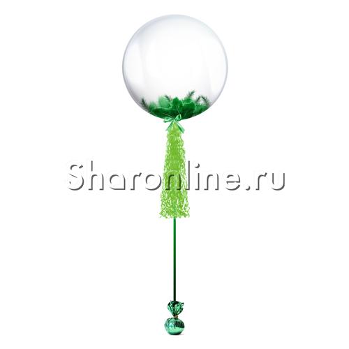 Фото №1: Шар Bubble с зеленой кисточкой и перьями
