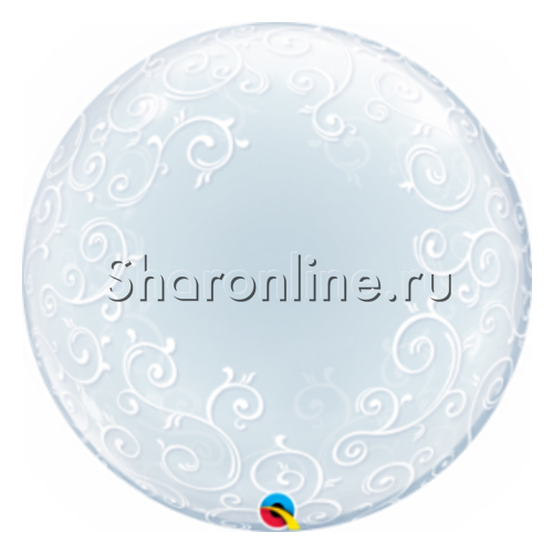 """Фото №1: Шар Bubble """"Узор Филигранный"""" 60 см"""