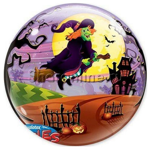 """Фото №1: Шар Bubble """"Ведьма на метле"""" 55 см"""
