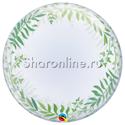 """Фото №1: Шар Bubble """"Зеленые листья"""" 60 см"""