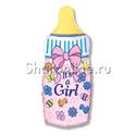 """Фото №1: Шар """"Бутылочка для девочки"""" розовый 81 см"""