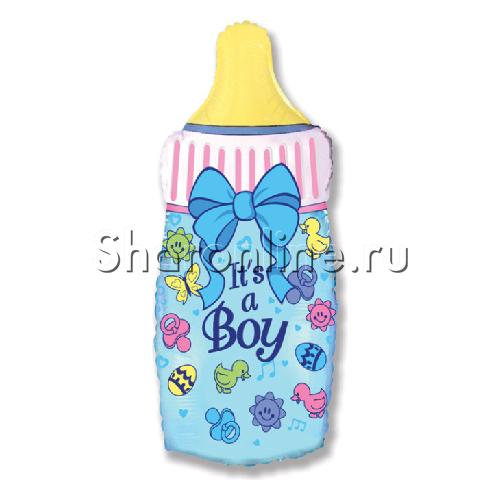 """Фото №1: Шар """"Бутылочка для мальчика"""" синий 81 см"""