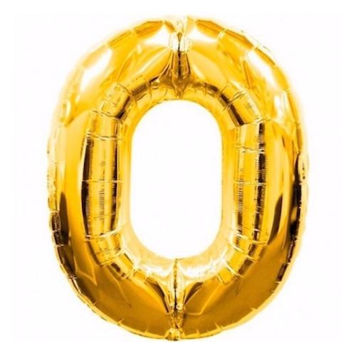 """Фото №1: Шар """"Цифра 0"""" Золото 99 см"""