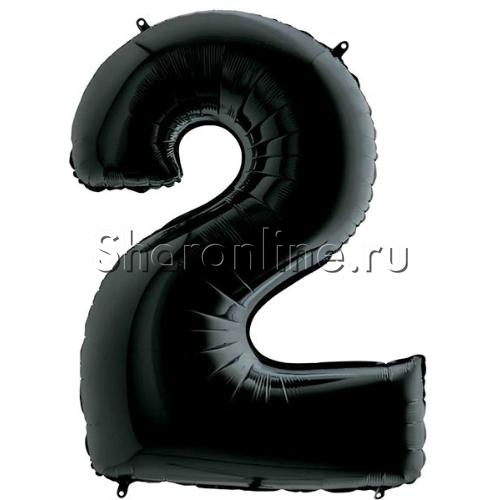 """Фото №1: Шар """"Цифра 2"""" Черная 102 см"""